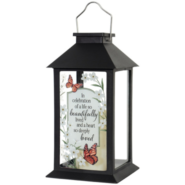 """Beautifully Lived\"" 13\"" Lantern - solar"