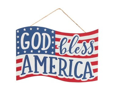 Wall Hanging God Bless America Wood Flag
